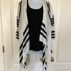 CJ Banks striped open front cardigan sweater